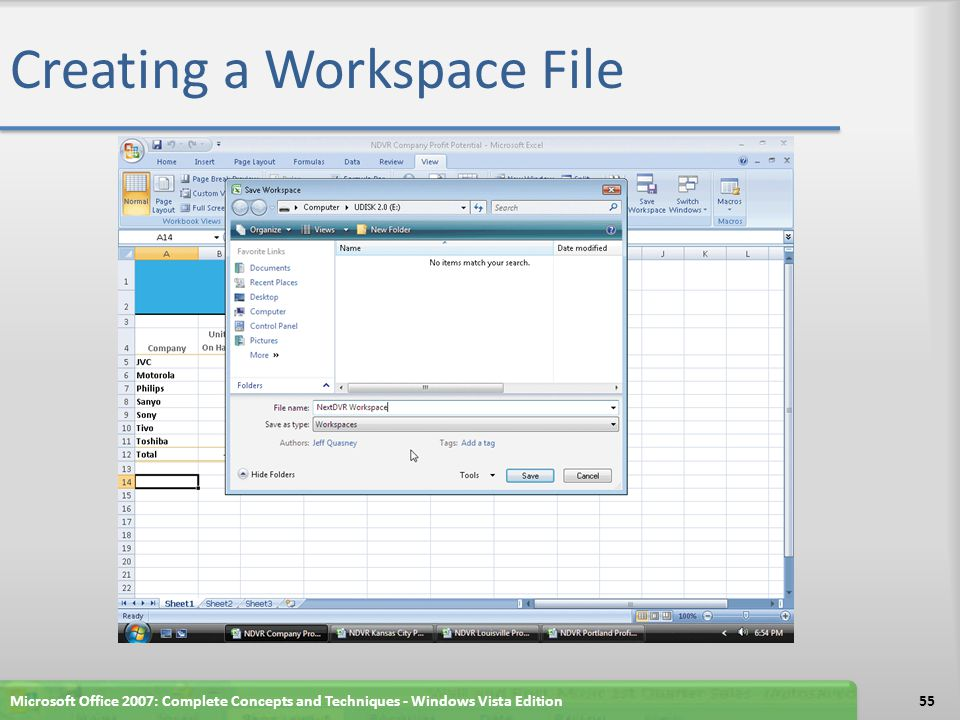 Creating a Workspace File