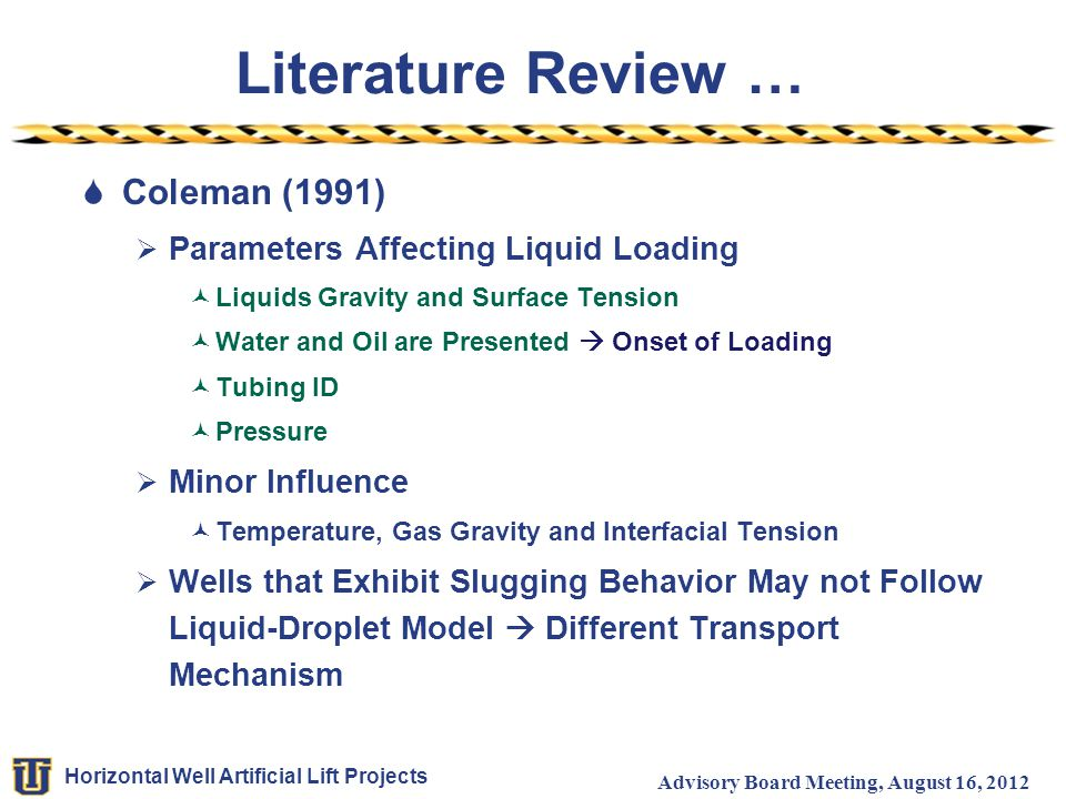 Literature Review … Coleman (1991) Parameters Affecting Liquid Loading