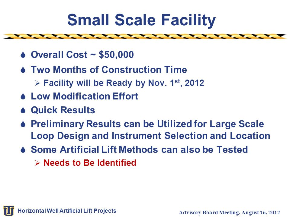 Small Scale Facility Overall Cost ~ $50,000
