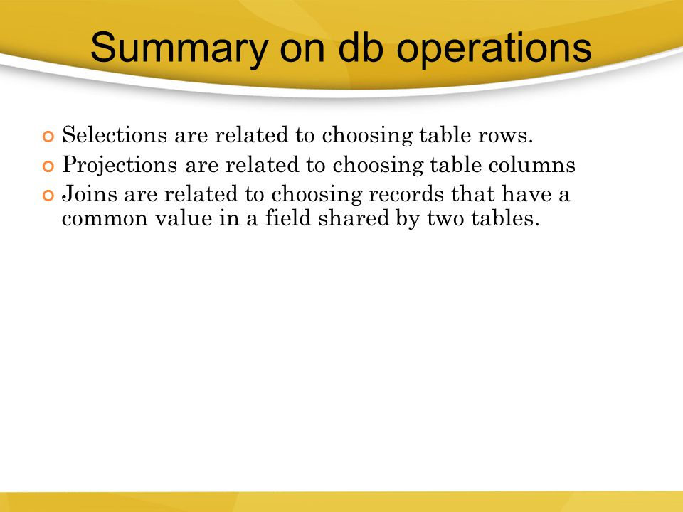 Summary on db operations
