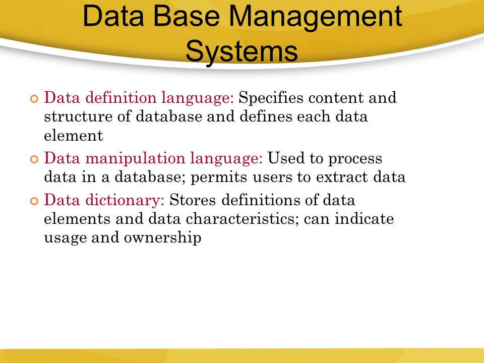 Data Base Management Systems