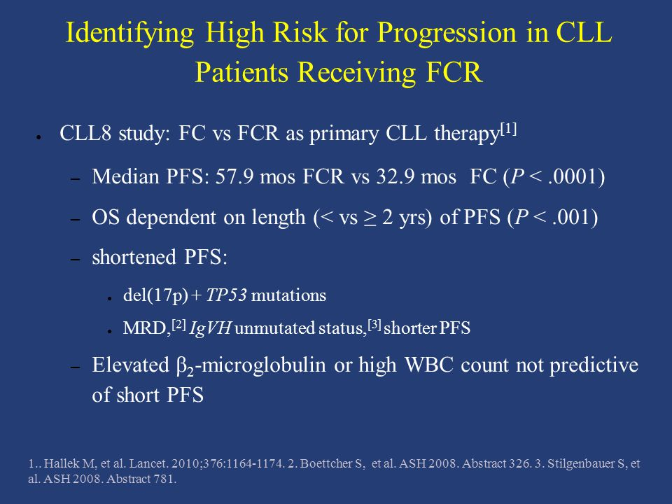 Identifying High Risk for Progression in CLL Patients Receiving FCR