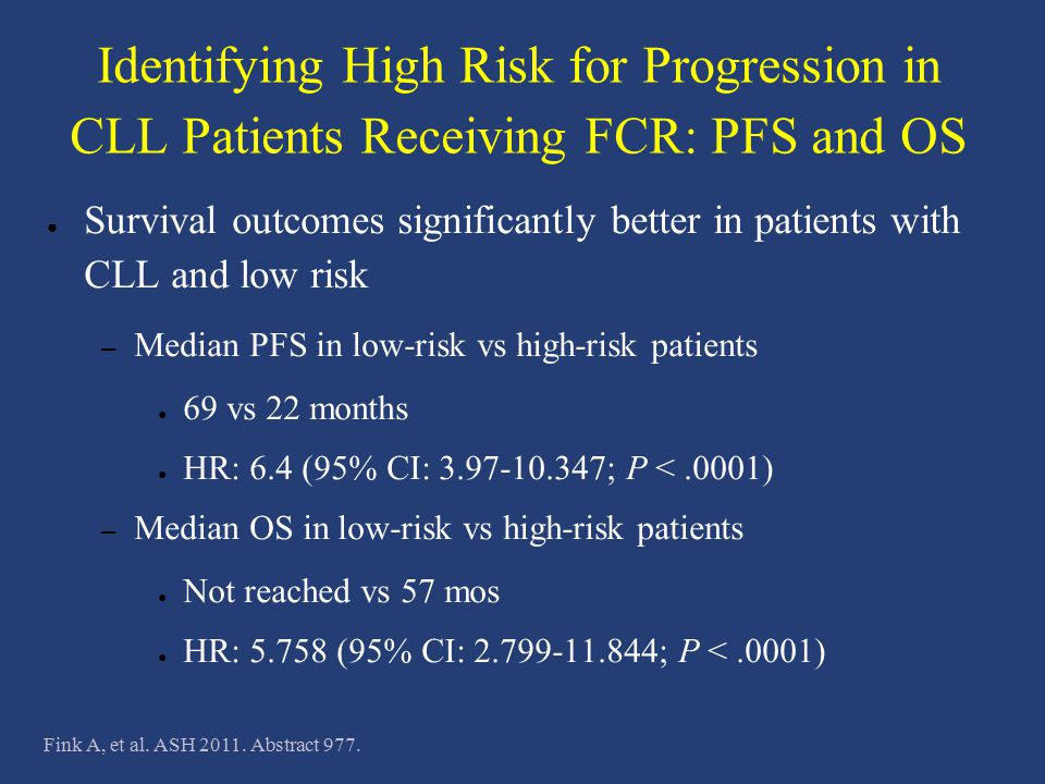 Identifying High Risk for Progression in CLL Patients Receiving FCR: PFS and OS