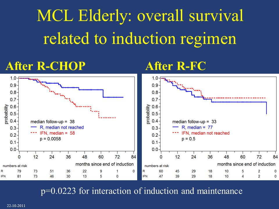MCL Elderly: overall survival related to induction regimen