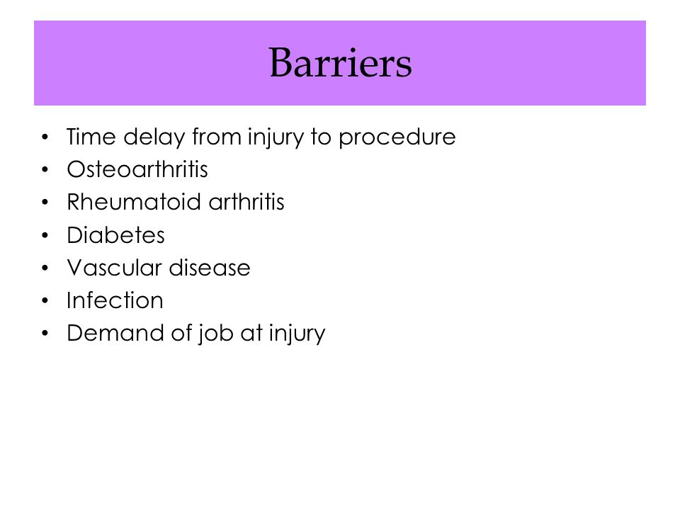Barriers Time delay from injury to procedure Osteoarthritis