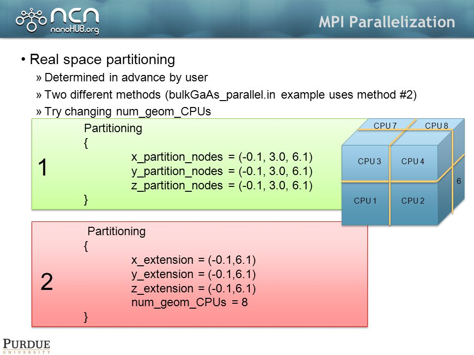 1 2 MPI Parallelization Real space partitioning