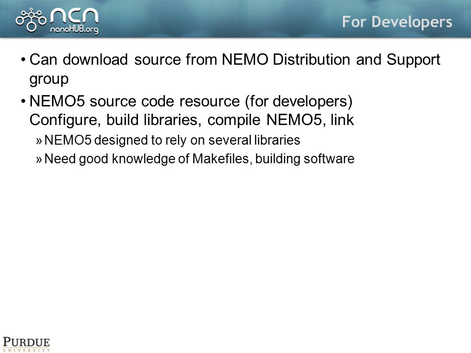 Can download source from NEMO Distribution and Support group