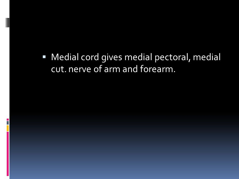 Medial cord gives medial pectoral, medial cut. nerve of arm and forearm.