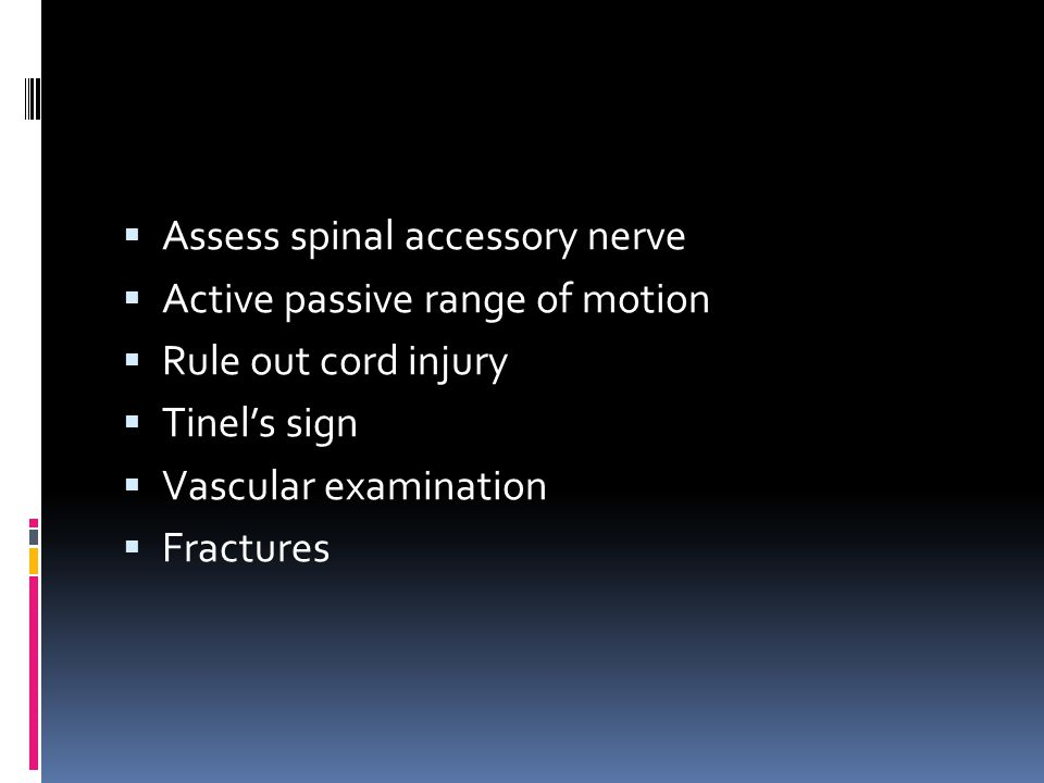 Assess spinal accessory nerve
