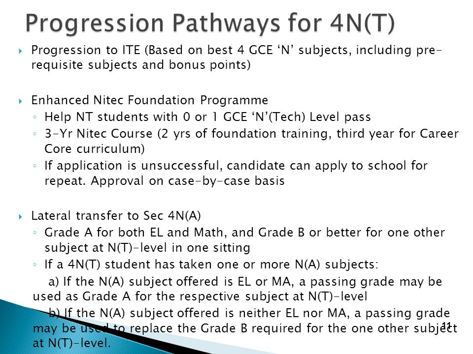 Progression Pathways for 4N(T)