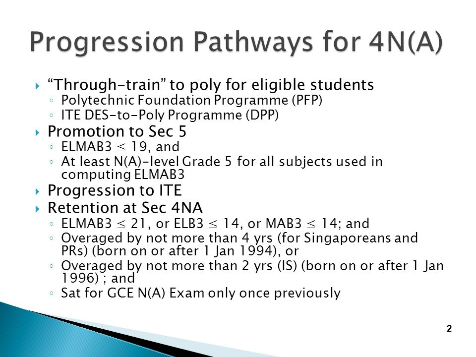 Progression Pathways for 4N(A)