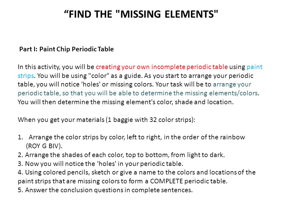 Find the missing elements ppt download find the missing elements urtaz Gallery