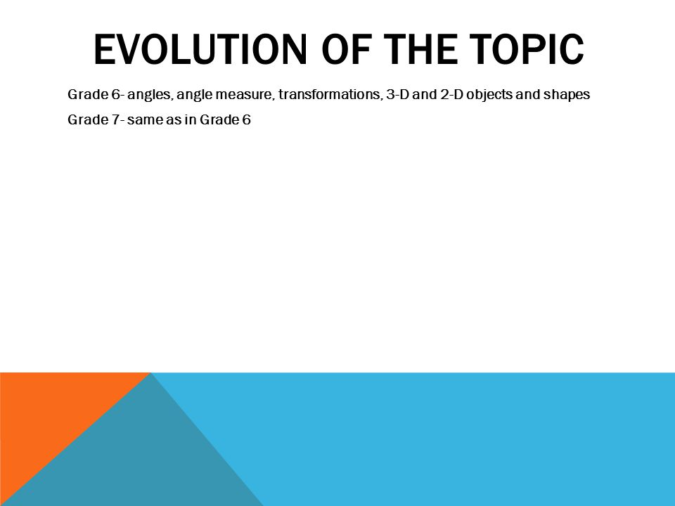 Evolution of the topic Grade 6- angles, angle measure, transformations, 3-D and 2-D objects and shapes.