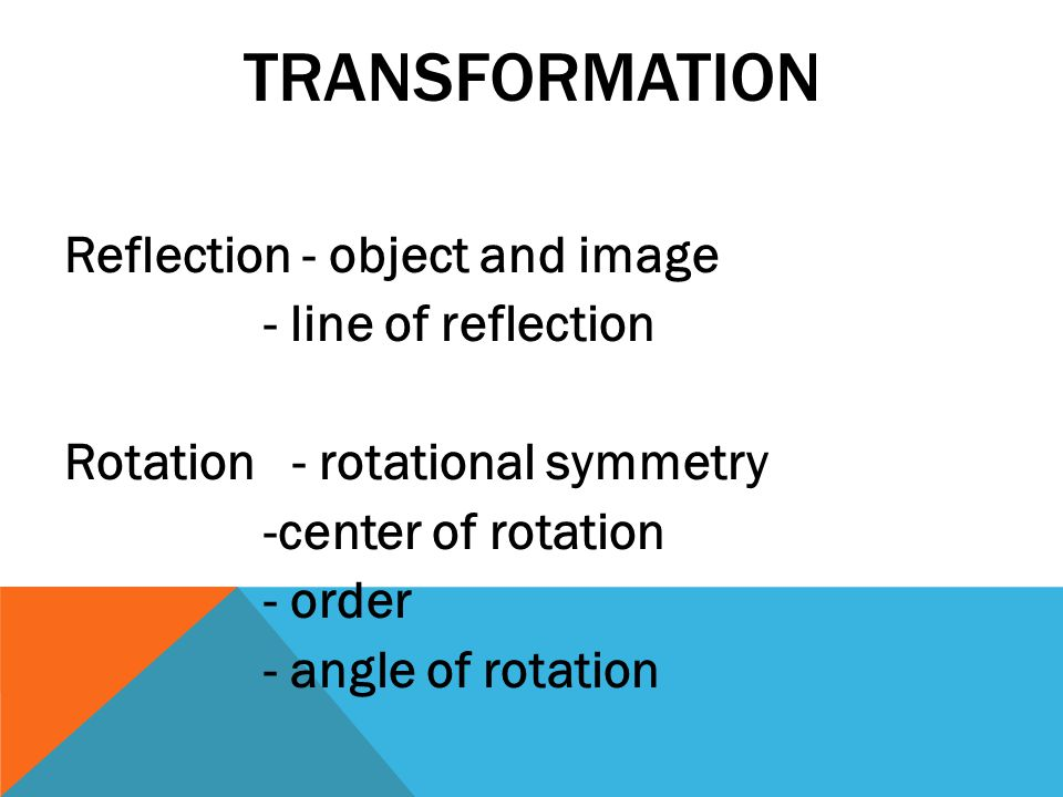 Transformation Reflection - object and image - line of reflection