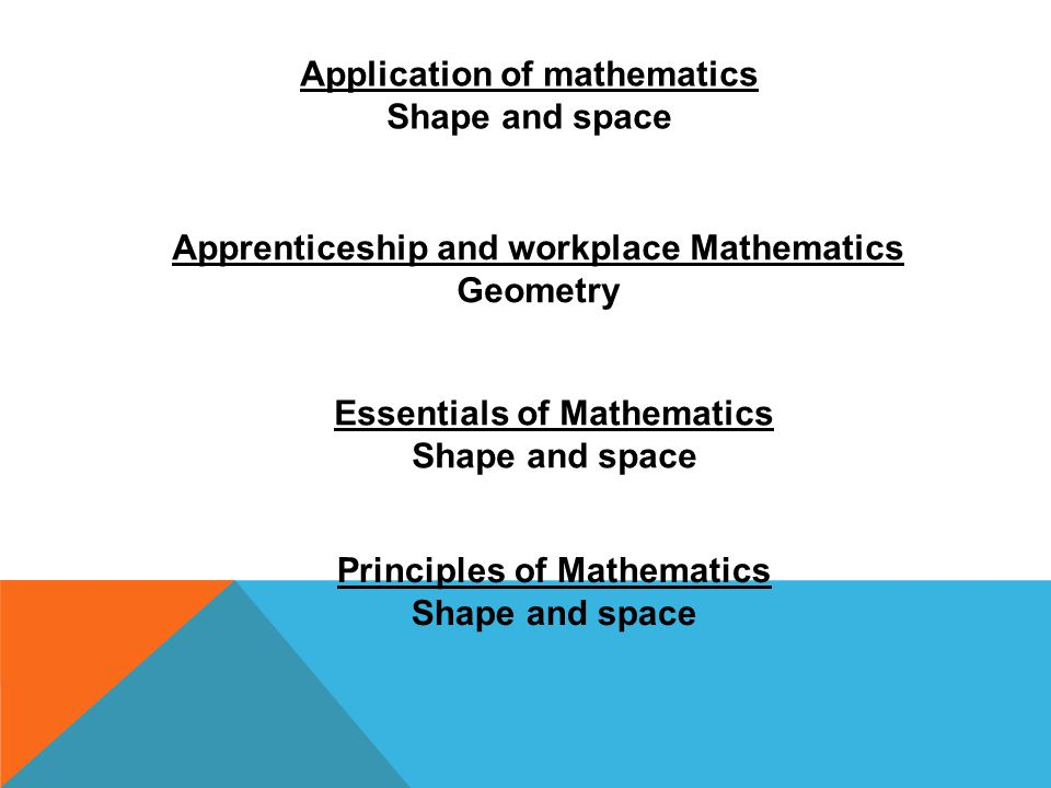 Application of mathematics Shape and space