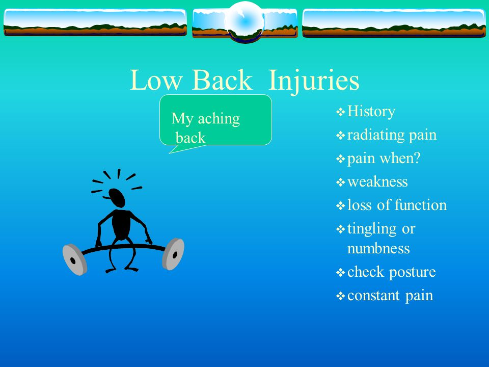 Low Back Injuries History My aching radiating pain back pain when