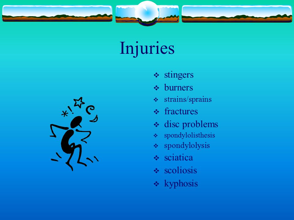 Injuries stingers burners fractures disc problems sciatica scoliosis