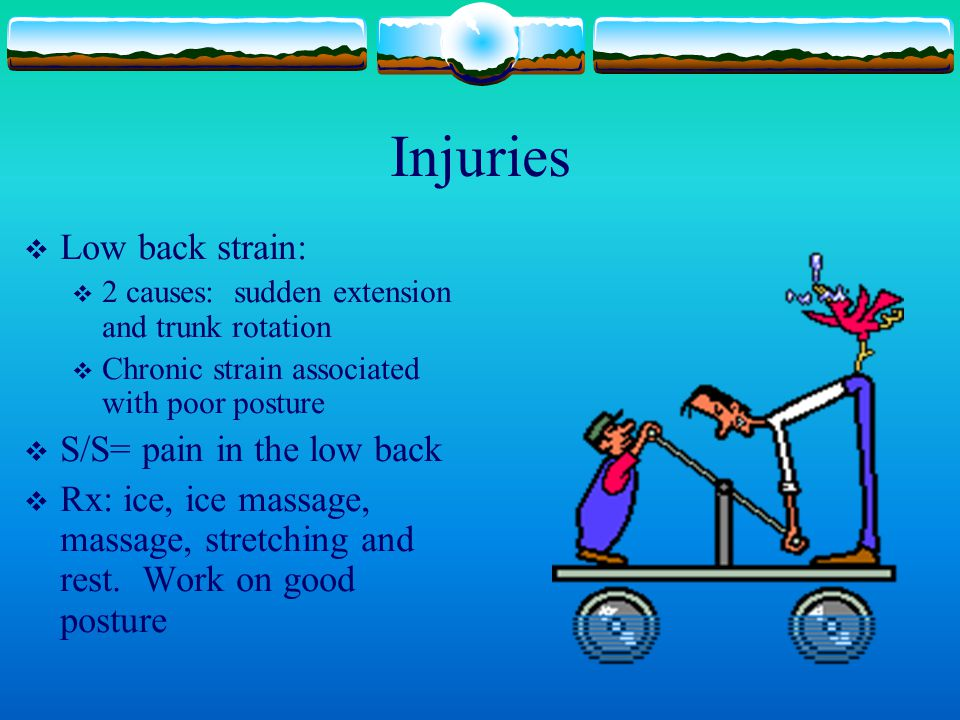 Injuries Low back strain: S/S= pain in the low back