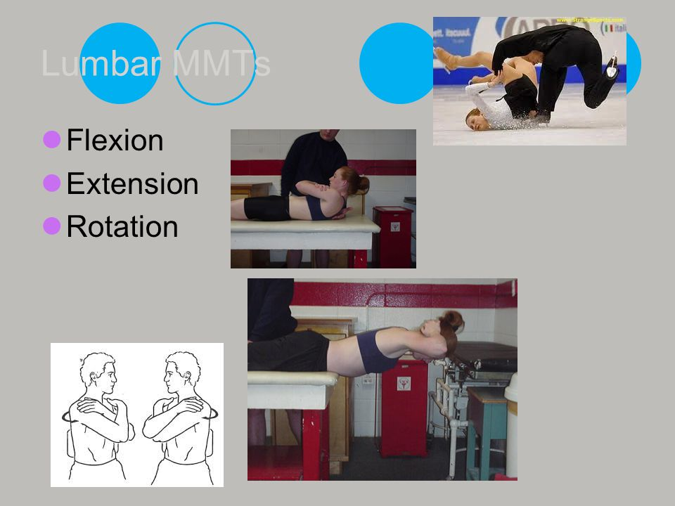 Lumbar MMTs Flexion Extension Rotation