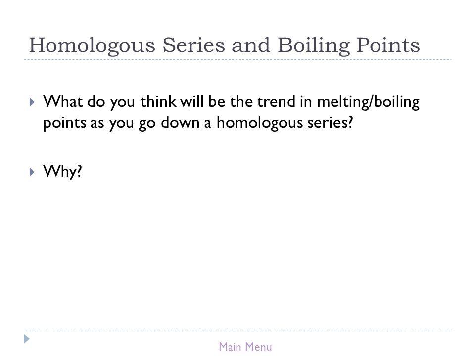 Homologous Series and Boiling Points