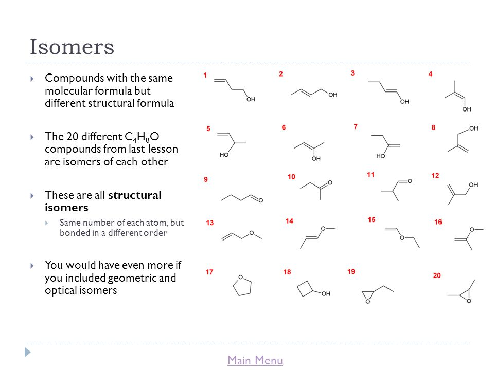 Isomers Compounds with the same molecular formula but different structural formula.