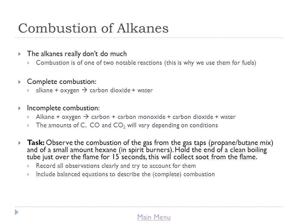 Combustion of Alkanes The alkanes really don't do much