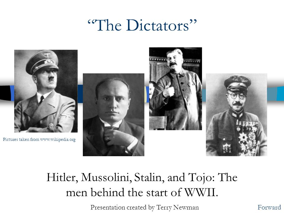 Hitler, Mussolini, Stalin, and Tojo: The men behind the start of WWII.
