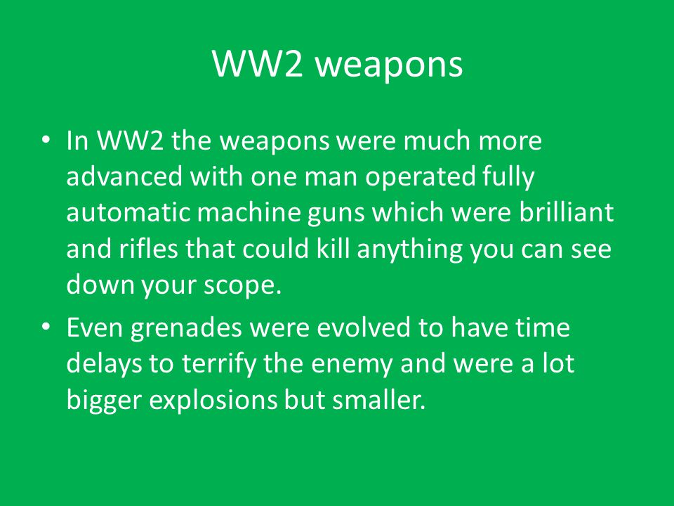 WW2 weapons