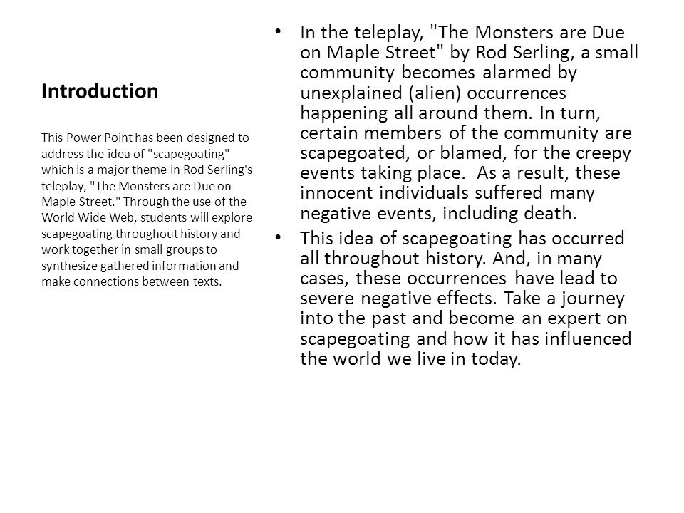 Web Quest Monsters Are Due On Maple Street Ppt Video Online Download