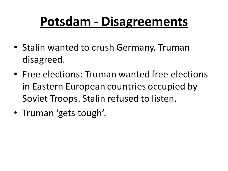 Potsdam - Disagreements