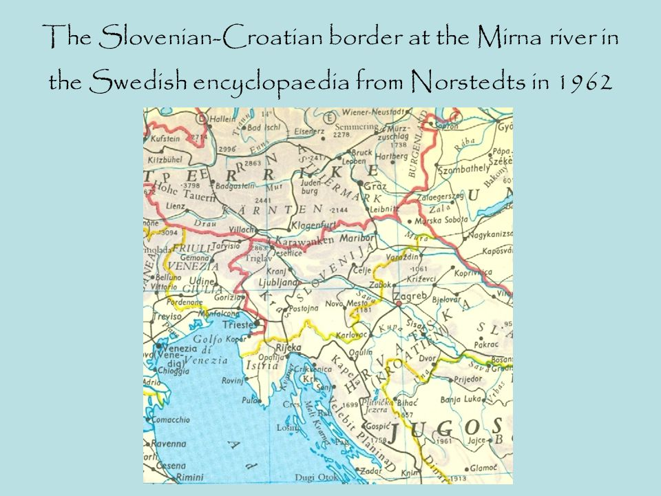 The Slovenian-Croatian border at the Mirna river in the Swedish encyclopaedia from Norstedts in 1962