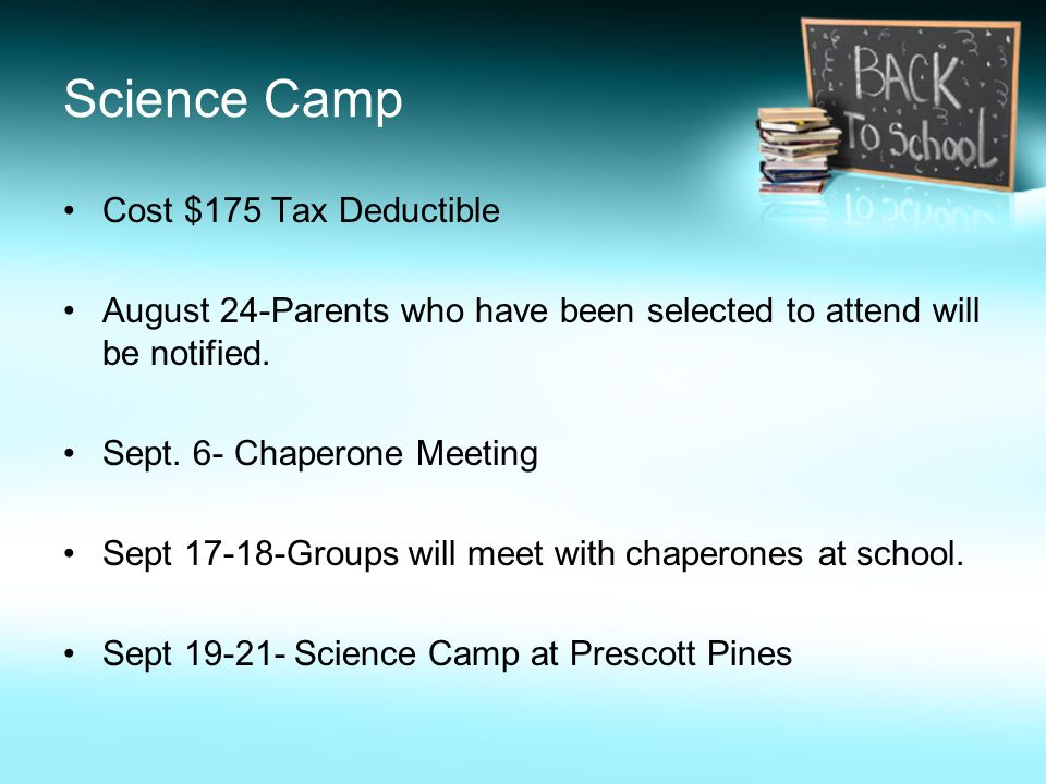 Science Camp Cost $175 Tax Deductible