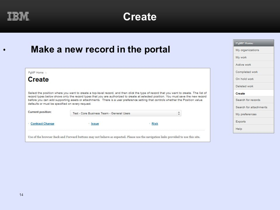 Create Make a new record in the portal