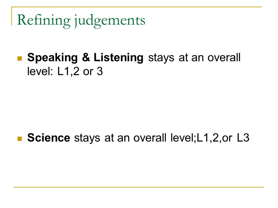 Refining judgements Speaking & Listening stays at an overall level: L1,2 or 3.