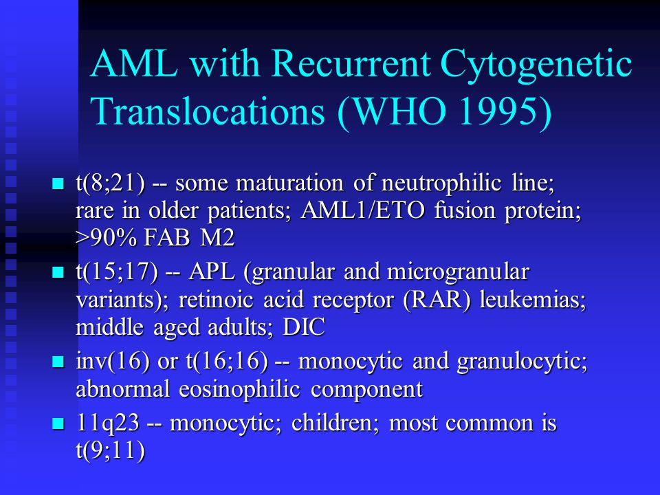 AML with Recurrent Cytogenetic Translocations (WHO 1995)