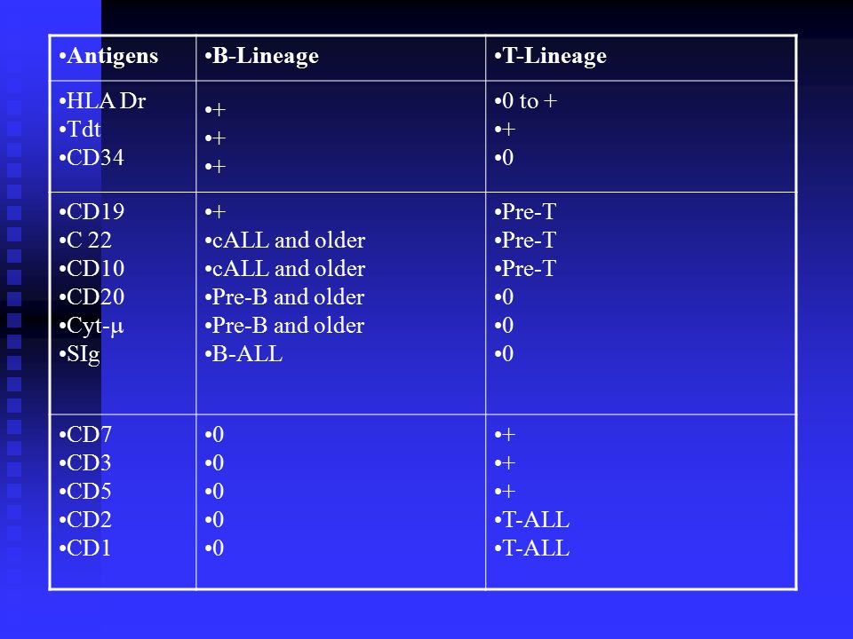 Antigens B-Lineage. T-Lineage. HLA Dr. Tdt. CD34. + 0 to + CD19. C 22. CD10. CD20. Cyt-