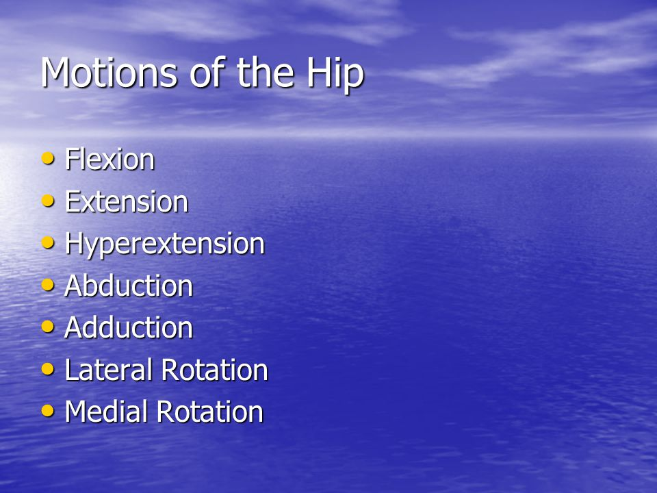 Motions of the Hip Flexion Extension Hyperextension Abduction