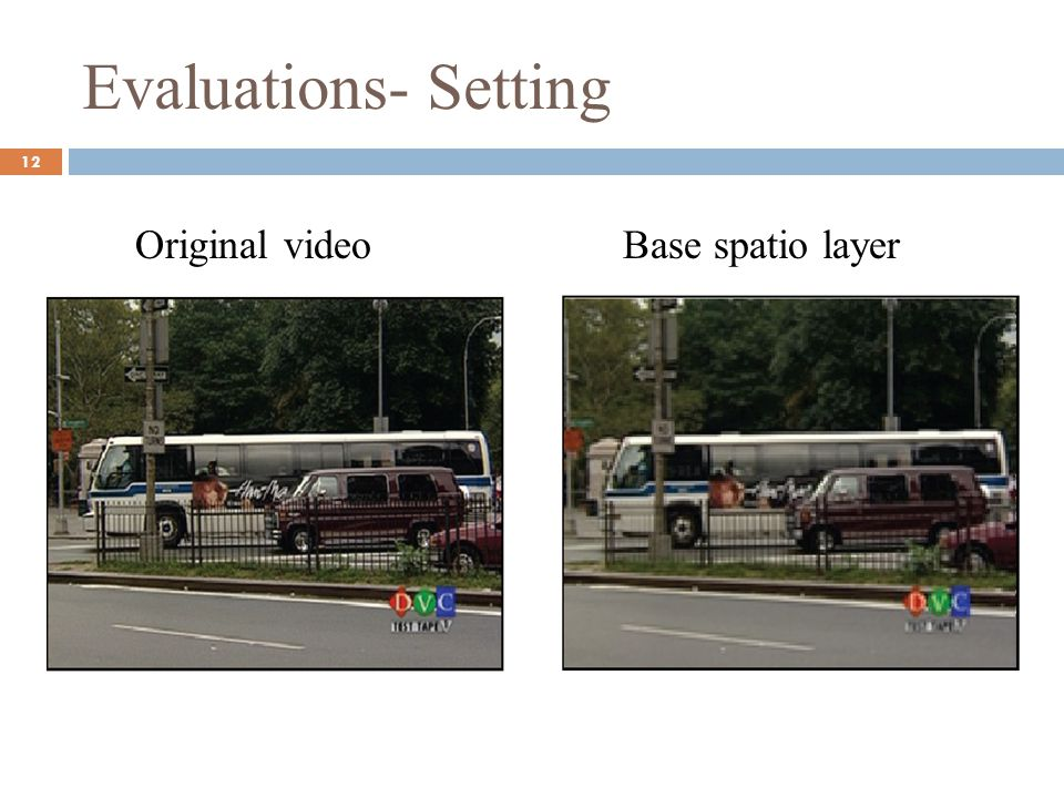 Evaluations- Setting Original video Base spatio layer