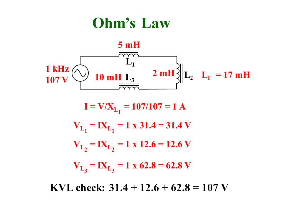 Ohm's Law KVL check: 31.4 + 12.6 + 62.8 = 107 V 5 mH L1 1 kHz 107 V