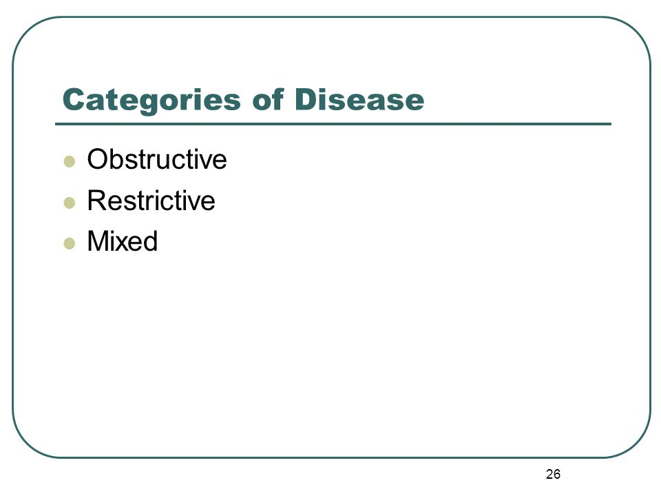 Categories of Disease Obstructive Restrictive Mixed