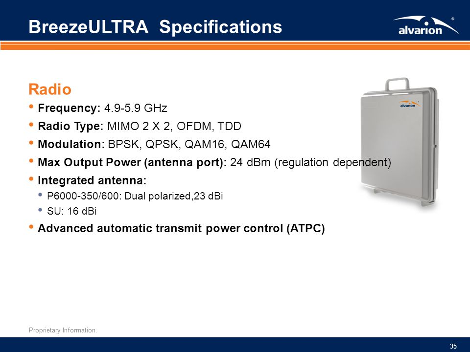 BreezeULTRA Specifications