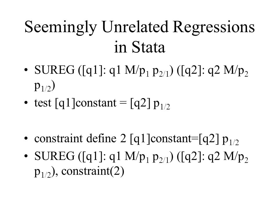 Seemingly Unrelated Regressions in Stata