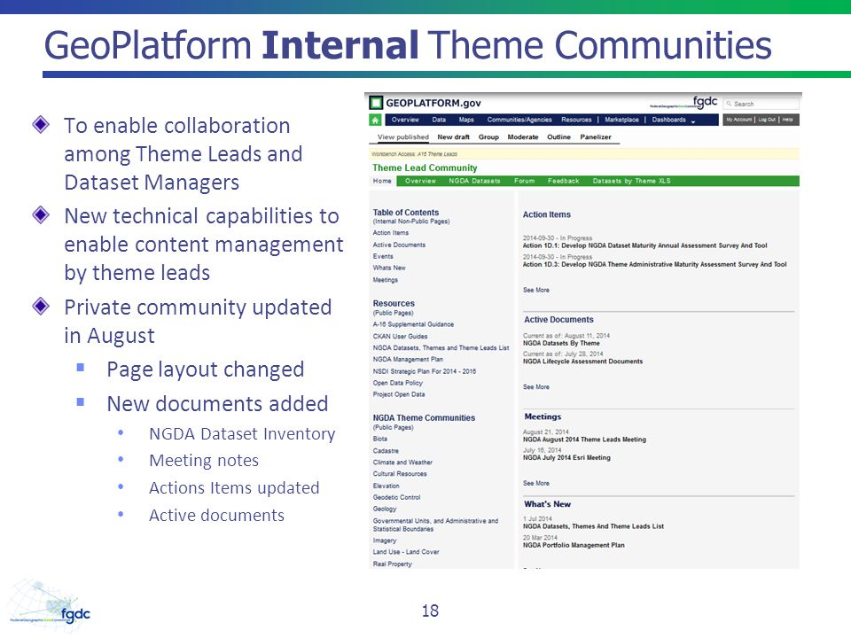 GeoPlatform Internal Theme Communities