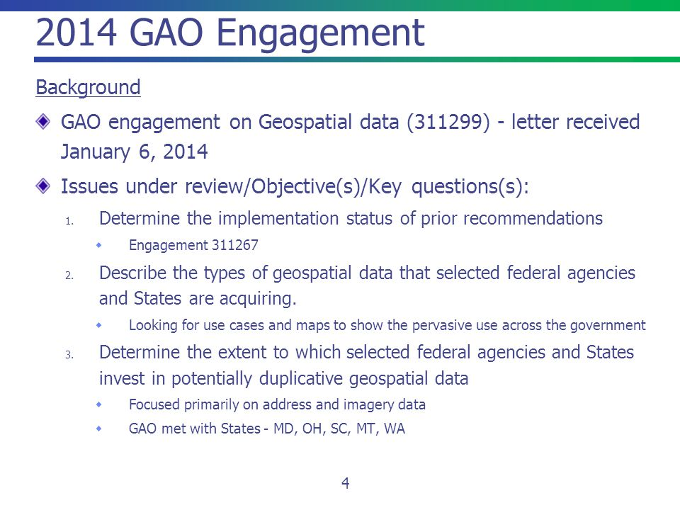 2014 GAO Engagement Background