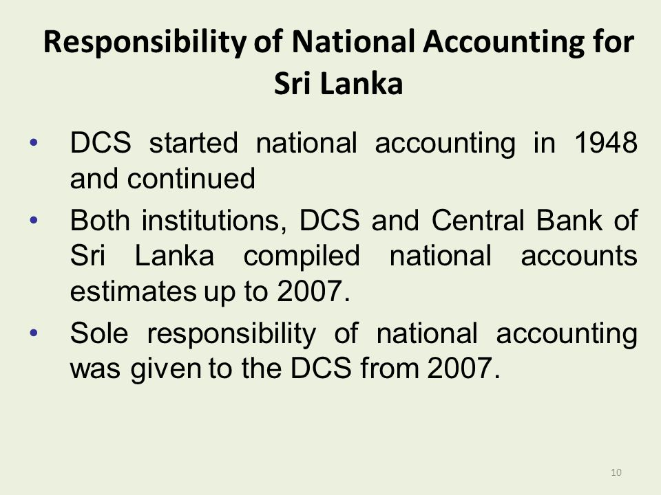 Responsibility of National Accounting for Sri Lanka