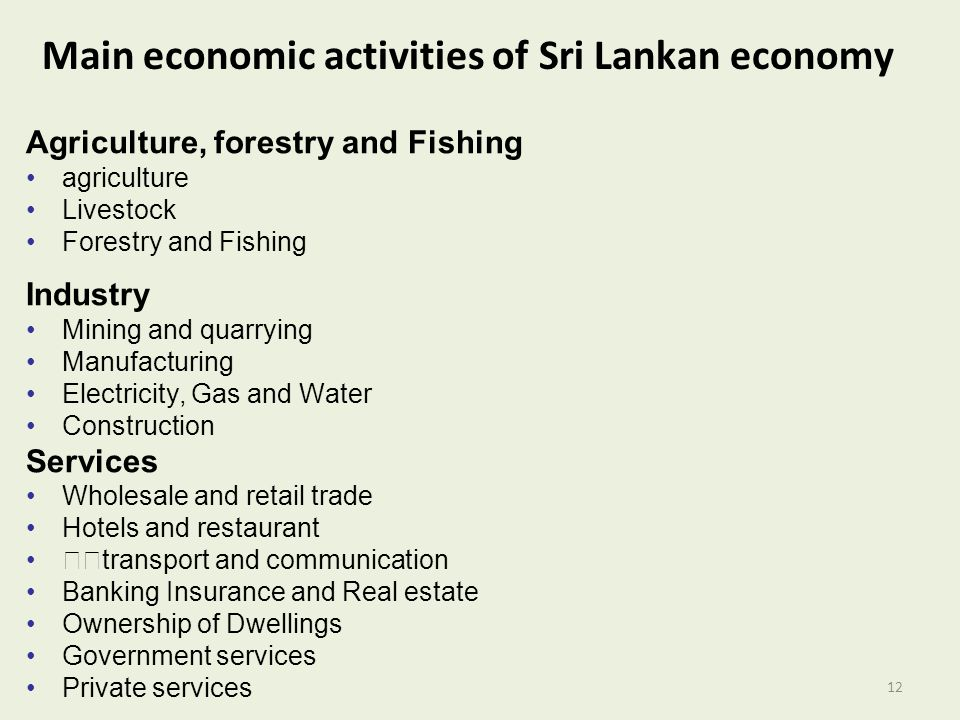 Main economic activities of Sri Lankan economy