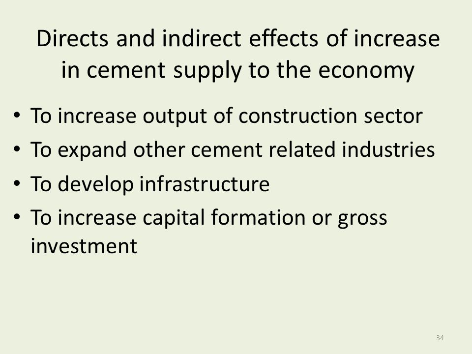Directs and indirect effects of increase in cement supply to the economy