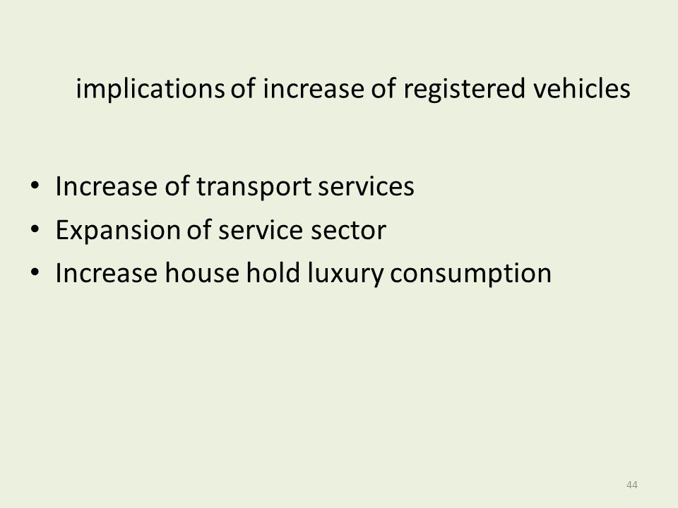 implications of increase of registered vehicles
