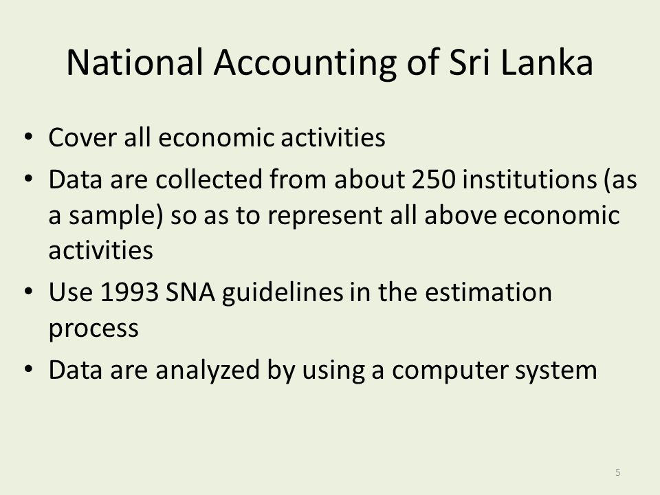 National Accounting of Sri Lanka