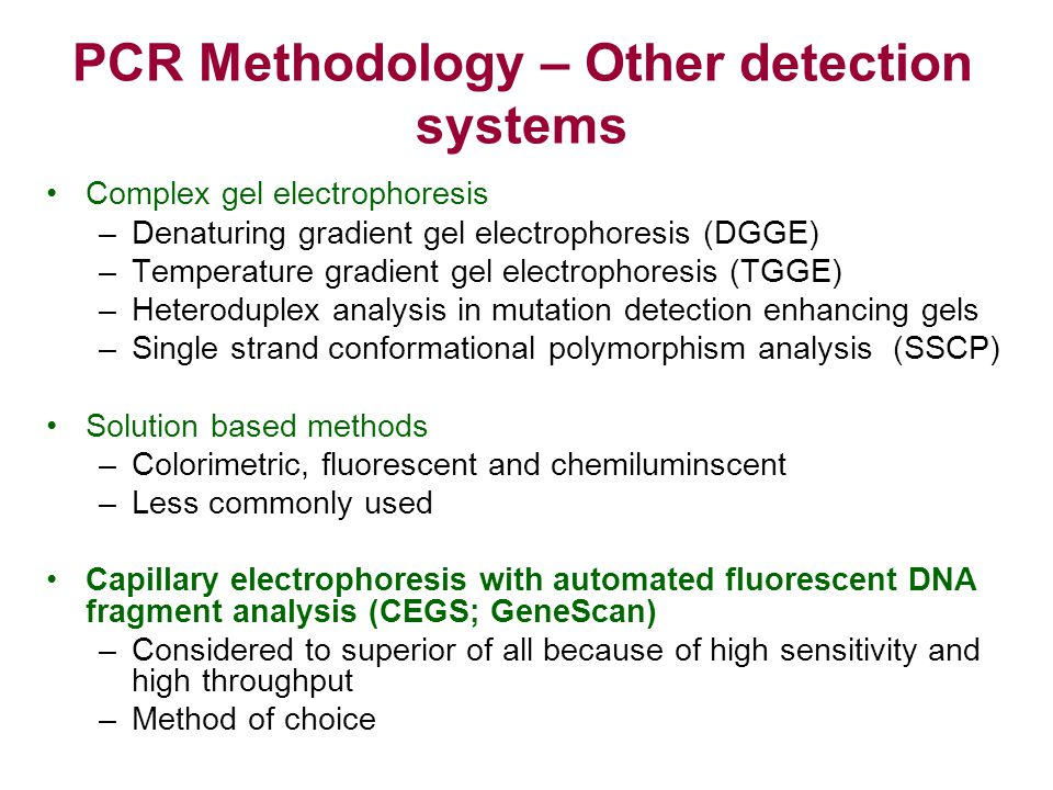 PCR Methodology – Other detection systems